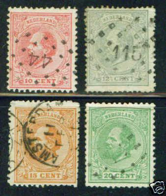 Netherlands Scott 25-8 William III 1872-88 CV$14.25