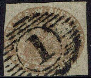 WESTERN AUSTRALIA 1854 SWAN 1/- IMPERF USED