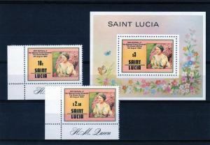 St.Lucia 1980 Q.Mother/Butterflies/Flowers Set(2)+SS Sc501/3