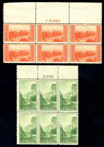 US  #740 - 741  PLATE BLOCKS, VF mint never hinged, LARGE TOPS,  Fresh Plates...