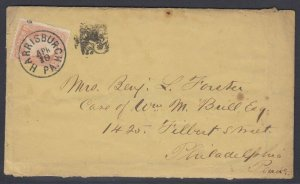US Sc 65 with Harrisburgh Pa. FANCY square ornament cancel on cover, w/ PF cert