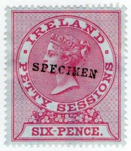 (I.B) QV Revenue : Ireland Petty Sessions 6d (specimen)