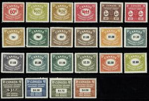 Canada 22 Unemployment Rev Stamps MNH / Many Better Inc 1968 $3.12 - S1755