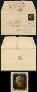 Penny Black (GK) Plate 1b TWISTED re-entry Four Margins on cover from Royston
