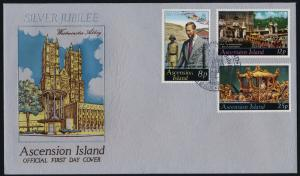Ascension Island 218-20 on FDC - Queen Elizabeth Silver Jubilee, Flag, Horses