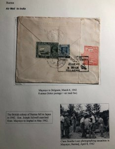 1942 Maymyo Burma Airmail Censored Official Cover To Rev Mascarhenas Belgaum