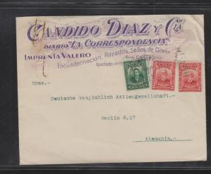 """G)1916CUBA, 1 GREEN & 2 RED CENTS, COMERCIAL COVER """"DIARIO"""