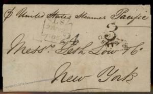 England Britain 1851 New York USA Transatlantic SS Pacific Stampless Cover 77675