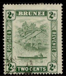 BRUNEI GV SG62, 2c green, FINE USED.