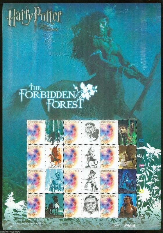 INDONESIA HARRY POTTER SET OF 4 SHEETS 12 STAMPS & 12 CONTIGUOUS LABELS MINT NH