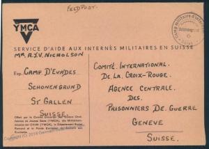 Switzerland WWII Internee Camp Schoenengrund Escapee English Prisoner Cove 53913