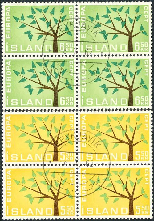 Iceland 1962 Sc 348-9 Europa CEPT Tree CDS 4 Stamp Used