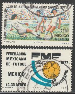 MEXICO C534-C535, 50th Anniversary Soccer Federation. USED. F-VF. (345)