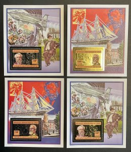 Stamps Deluxe blocks Death Anniversary Jules Vernes Gold&Silver perf. Congo 2006