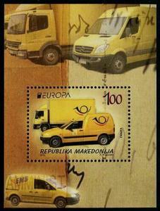 HERRICKSTAMP MACEDONIA Sc.# 626 EUROPA 2013 Postal Vehicles S/S