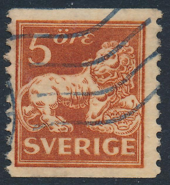 Sweden Scott 117v (Fa 141), 5ö brown Lion type I, F-VF Used