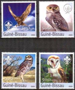 Guinea-Bissau MNH Set Of Owls Birds 2003