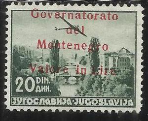 MONTENEGRO 1942 AEREA SOPRASTAMPATO OVERPRINTED AIR MAIL 20 D MLH FIRMATO SIGNED