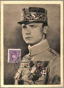 90125  - CZECHOSLOVAKIA - MAXIMUM CARD - Milan STEFANICH military UNIFORMS 1938