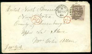 GREAT BRITAIN : Stanley Gibbons #70 on 1864 cover to Nova Scotia.