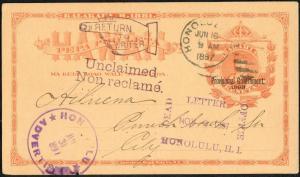 HAWAII #UX5 POST CARD USED ADVERTISED RETURNED TO WRITER BP3938