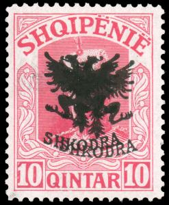 Albania 1920 10q ROSE DOUBLE OVEPRINT VERY LIGHTLY HINGED #121a CV$150.00 [15...