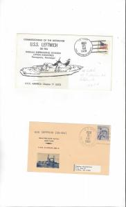 US Navy USS Leftwich DD 984, 2 Covers, FDIC