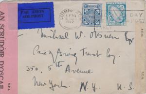 Ireland 1/- Sword of Light and 3d Celtic Cross 1942 Luimneach No Xmas Deliver...