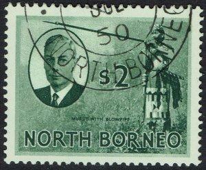 NORTH BORNEO 1950 KGVI PICTORIAL $2 USED