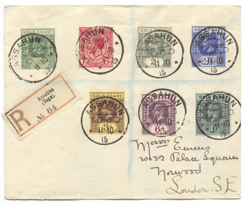 Togo 1915, British Occupation, R-Cover ASSAHUN postmark, Accra Overprint to 1 sh