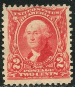 US Sc#301 1903 2c Washington Fine Centered Unused Without Gum