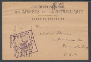 France, 1918 AEF Censored Soldier's Card to US