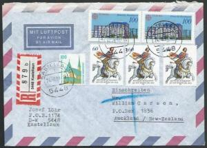 GERMANY 1991 Registered airmail cover to New Zealand - nice franking.......11250