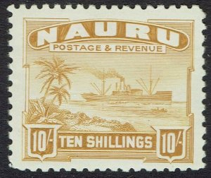 NAURU 1924 SHIP 10/- ON SMOOTH PAPER