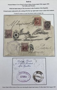 1907 La Paz Bolivia Secretary Of The President Cover To Paris France Via Panama