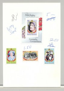 Grenada Grenadines #682-685 Queen Mother 3v & 1v S/S Imperf Proofs on 1v Card