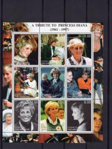 Tajikistan 2000 A Tribute To Princess Diana/Red Cross Sheetlet (9) MNH VF