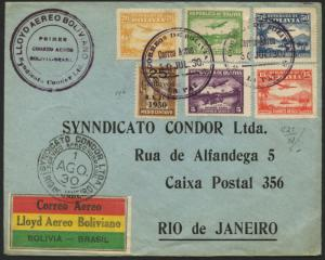 FIRST FLIGHT COVER BOLIVIA TO BRAZIL JULY 30, 1930 VIA CONDOR  BL1626