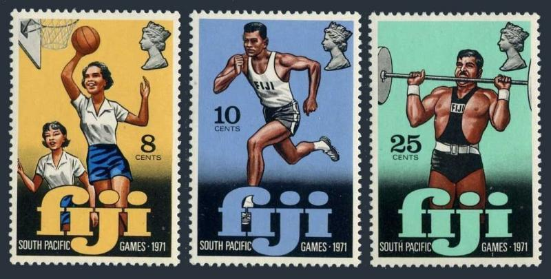 Fiji 321-323,MNH.Michel 292-294. Games 1971.Basketball,Running,Weight lifting