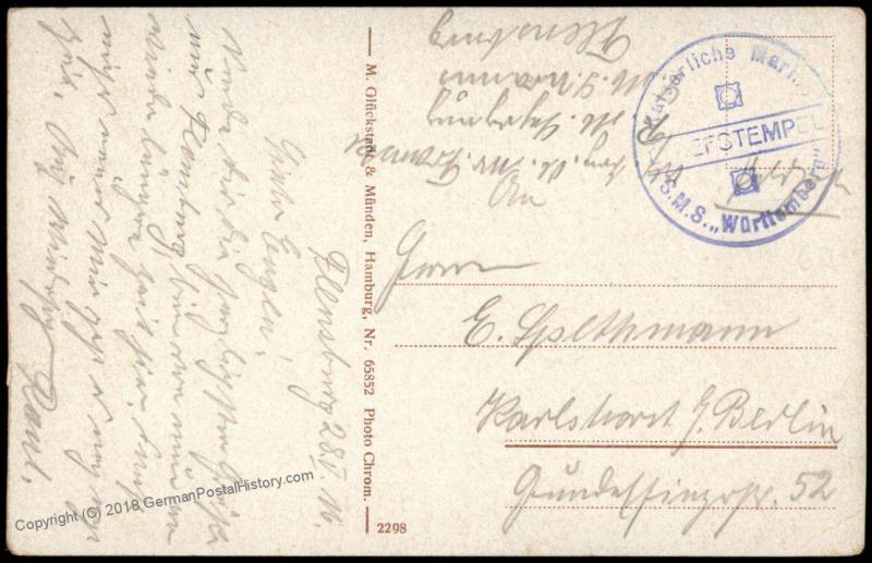 Germany WWI Navy SMS Wuerttemberg  MSP Feldpost Cover 75519