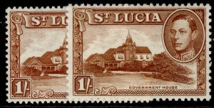 ST. LUCIA GVI SG135 + 135a, 1s PERF VARIEITES, M MINT.