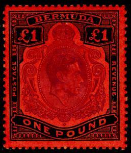 BERMUDA SG121e, £1 Bright Violet & Black/Scarlet PERF 13, LH MINT. Cat £180.
