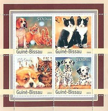 Guinea-Bissau - Cats & Dogs - 4 Stamp  Sheet GB3135