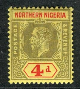 NIGERIA; 1912 early GV Crown CA issue fine Mint hinged Shade of 4d. value