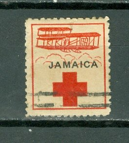 JAMAICA 1916 RED CROSS LABEL FOR HELPING JEWS in POLAND...TYPE 3...USED
