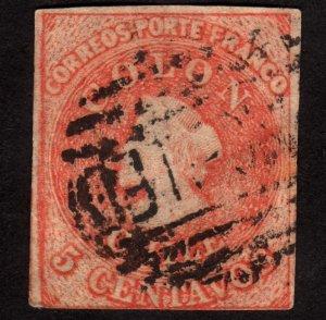 1858, Chile 5c, Used, Christopher Columbus, Sc 9b, Orange red
