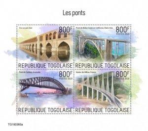 TOGO - 2019 - Bridges - Perf 4v Sheet - MNH