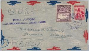 MAPS - VENEZUELA -  POSTAL HISTORY -  AIRMAIL COVER to FRANCE 1939