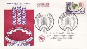 Senegal 1963 Scott B17 Semi-postal  FAO Freedom From Hunger FDC. Typed Address