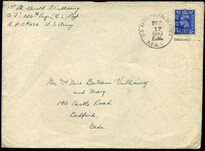 WW2 1942 KGVI US ARMY POSTAL SERVICE APO to Bedford